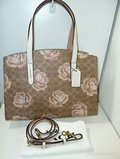 NWT Coach 31667 Signature Rose Print Charlie Carryall Tote - Chalk/Tan