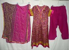 Pink Brown Printed Ribbon Edge 3Pc Salwar Kameez Set Outfit Women Size L or XL
