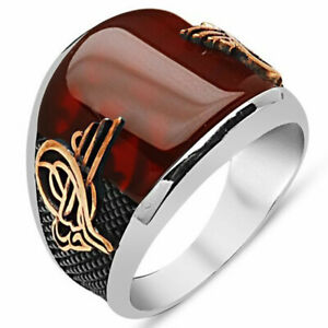 Solid 925 Sterling Silver Ottoman Sultan Tughra Curved Red Agate Stone Men Ring
