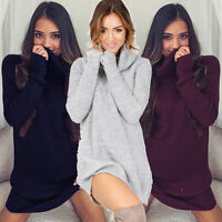 Womens Cowl Neck Loose Long Sleeve Oversize Sweater Jumper Tops Dress outfit new