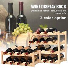 Wine Rack Wooden Tabletop Bottle Champagne Holder Storage Stack 2/3 /4Tier Stand