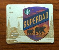 STARBUCKS Gift Card 2018 Die Cut SUPERDAD Happy Father's Day Bears No $ Value