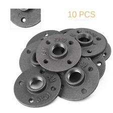 10x 3/4'' Malleable Threaded Floor Flange Iron Pipe Fittings Wall Mount Black