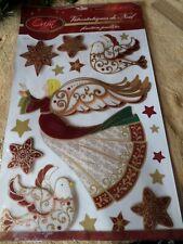 Décoration de Noël - STICKERS 3 D - Noël Orion - Rouge/doré pailleté