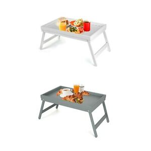 WHITE GREY BAMBOO WOODEN BREAKFAST SERVING LAP TRAY BED TABLE WITH  FOLDING LEGS