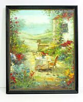 France Country Garden 16 x 20 Art Oil Painting on Canvas w/Dark Wood Frame