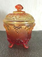 Vintage Jeannette Amberina  Glass Grape Footed Candy Dish w/Lid