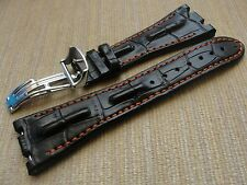 28mmX18mm Black Horn Back Leather Strap Orange Stich For AP ROO W/Depl Buckle