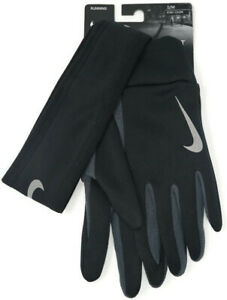 Mens Nike Running Therma Headband And Gloves Set S/M NWT Black Fleece Stretch