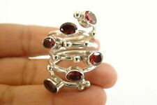 Red Garnet Cluster Wrap Cocktail Sterling Silver Ring Size 9