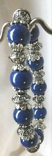 Bracelet Handcrafted Stretch Deep Blue Gemstone with Tibetan Silver Spacers