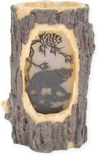 Rustic Faux Wood Carved Bear Log Stump Cabin Lodge Table Lamp Night Light New
