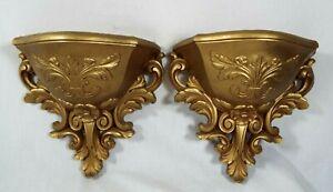 Vintage Pair Of Homco Fleur Di Lis Wall Pocket Planters Hollywood Regency Gold