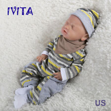 IVITA 18'' Full Soft Silicone Reborn Baby Doll GIRL Eyes-closed Take A Pacifier