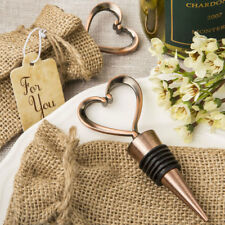 100 Vintage Heart Bottle Stopper Burlap bag Wedding Favors Bridal Shower Favor