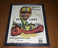 1958 DETROIT LIONS vs GREEN BAY PACKERS FRAMED COLOR PROGRAM PRINT