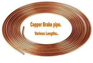 "Copper Brake Pipe. 3/16"" 1/4"" 6mm 8mm. 3 feet - 32 feet. *Top Quality!"