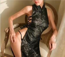 Women's Sexy Bandage Cheongsam Dress High Split Long Black/White Pajamas US