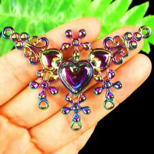 Q28946 Rainbow Tibetan Silver Carved Heart Flower Pendant Bead 64x44x4mm