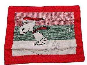 Pottery barn kids SNOOPY Peanuts Holiday quilted pillow SHAM cover Christmas NEW