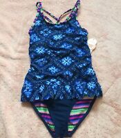 Girls 6 6x 14 16 Blue One Piece Swimsuit w/ Ruffle Small or XL