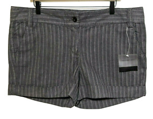 "NWT Calvin Klein Jeans Cuffed Mini Shorts 16 Dark Gray Striped Women's 4"" Inseam"