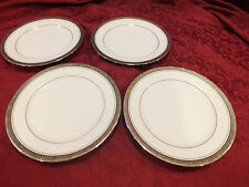 "4 Vintage Noritake China Encrusted Salad Plates ""MAJESTIC PLATINUM 4291"""