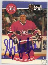SYLVAIN LEFBVRE Montreal Canadiens 1991 PRO SET  AUTOGRAPHED HOCKEY CARD JSA