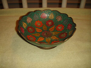 Vintage India Brass Bowl Painted Floral Patterns Scalloped Rim Footed Dish
