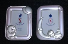 "New 3"" x 2""  Studio Silversmiths Plastic Baby Picture Frames - Set of 2"