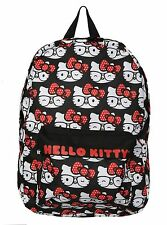 NEW HELLO KITTY ALL OVER PRINT NERD GLASSES BOW SANRIO LOUNGEFLY SCHOOL BACKPACK
