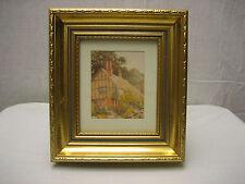 Vintage Gold Edge Frame Art Print Farmhouse Farm Garden Girl Picks Flowers