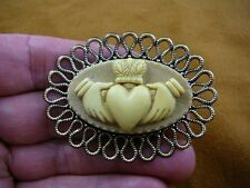 (cm38-97) traditional CLADDAGH heart ivory tan CAMEO Pin Pendant brooch necklace