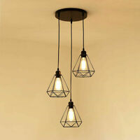 Industrial wire cage style retro 3 Light ceiling pendant light lamp shade metal