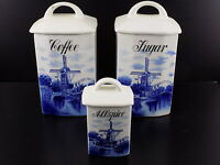 Vintage GERMAN CERAMIC Storage Set CRELE C.A.W Allspice, Coffee, Sugar w/ Lids