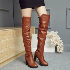 New Women's Over the Knee Boots Round Toe Block High Heels Winter Platform Shoes