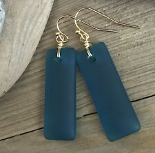 Min Favorit Teal Cultured Sea Glass Rectangle Drop & Gold Pl Artisan Earrings