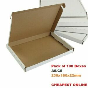 x100 A5 C5 ROYAL MAIL PIP LARGE LETTER CARDBOARD BOX WHITE 160x230X22mm