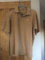 Burberry Brit men's short sleeve nova check placket polo shirt M Beige