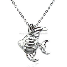 K82 Silver Ocean Sea Fish Locket Necklace Essential Oil Pearl Beads Cage Chain