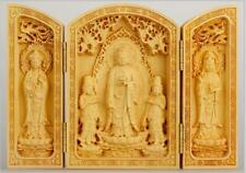 Oriental Vintage Boxwood Handwork Carved Buddha Statue Collection  A