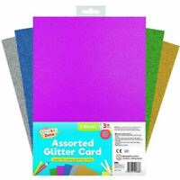 16 X Glitter Card Sheets A4 Single Sided Craft Low Shed Fixed Glitter 5 Colours