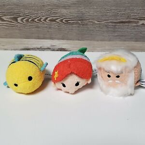 "3 Disney Mini Tsum Tsum The Little Mermaid 3.5"" Ariel King Triton Flounder"