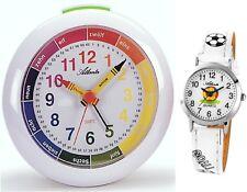 SET Kinderwecker + Armbanduhr Lernwecker Kinderuhr Weiß  - Atlanta 1265-0 KAU