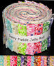"Jelly Roll Daisy Fields Flowers Daisies Cotton Fabric 17 Strips 2.5"" Wide X 44"""