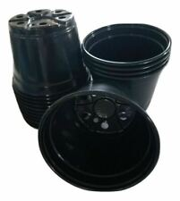 "6 inch Round Black Plastic Pots - Set Of 15 - (6"" x 4.4"") flower pot Nursery"
