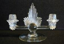 BEAUTIFUL VTG ART DECO CLEAR SOLID GLASS CANDELABRA EXCELLENT CONDITION