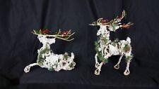 "Wonderful Pair Of Natural Hand Made Wooden Stick Flocked Reindeer 10.5 & 8"""