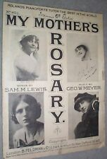 SHEET MUSIC MY MOTHERS ROSARY 1916 ROLANDS PIANOFORTE
