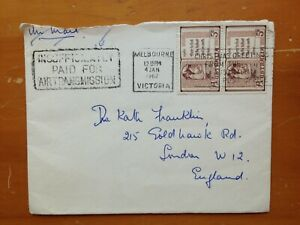 1962 AUSTRALIA COVER WITH POST OFFICE INSTRUCTION AND XMAS SLOGAN